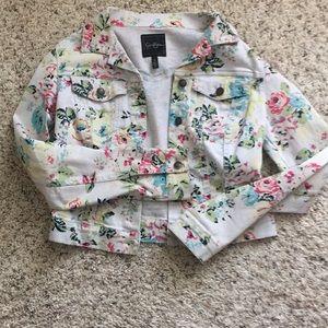 Floral print light denim jacket